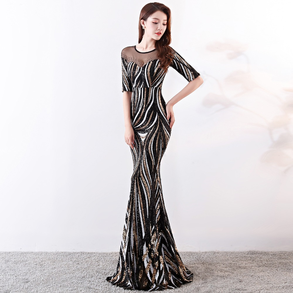 Elegant Crystal Beaded See Through Voile Shor Sleeve Mermaid Long Formal Dresses For Women 2018 Sexy Nightclub Wear Party Dress (22)