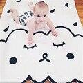 Marca Infantil Recién Nacidos Del Bebé 100% Algodón Blanco Lindo de la Historieta Nube Manta de Cama Para Niños 107X77 CM