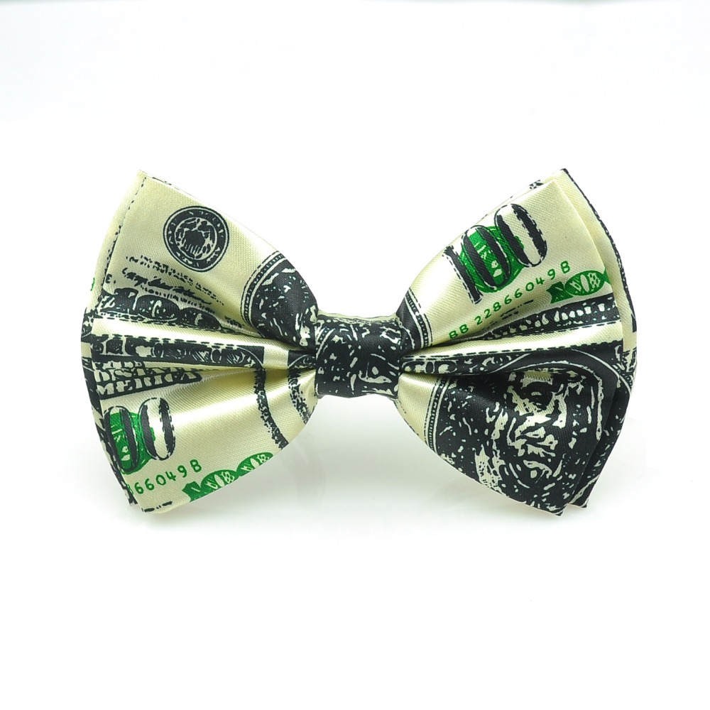 New Fashion 100 American Dollar US Dollar Men Novelty Polyester Bow Ties Tuxedo Dress Bowtie Party Wedding Causal Butterfly Tie
