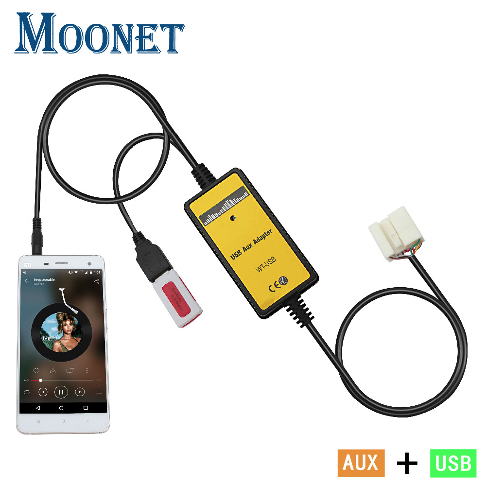 Moonet Car MP3 Player USB AUX Adapter AUXiliary TF SD digital disc box Car Stereo CD
