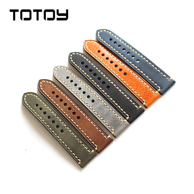 TOTOY Italian Leather Leather Watchbands18 19 20MM 21MM 22MM 23MM 24MM 26MM Hand Stitched Leather  For PAM Men's Strap