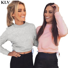 New Brand 2017 Women Tracksuit 2 Colors Hoodie Women Sweatshirt Side Cross Design Long Sleeve Short Pullovers Sueter Se17
