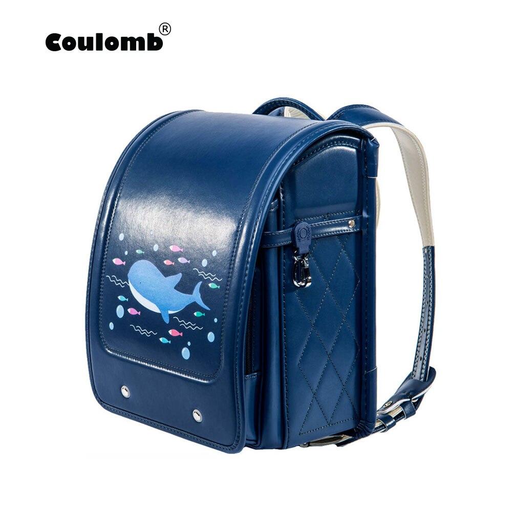 Coulomb Orthopedic School Bag Children Lovely Backpack Animal Prints Kid Japanese PU Hasp Orthopedic Backpacks 2018