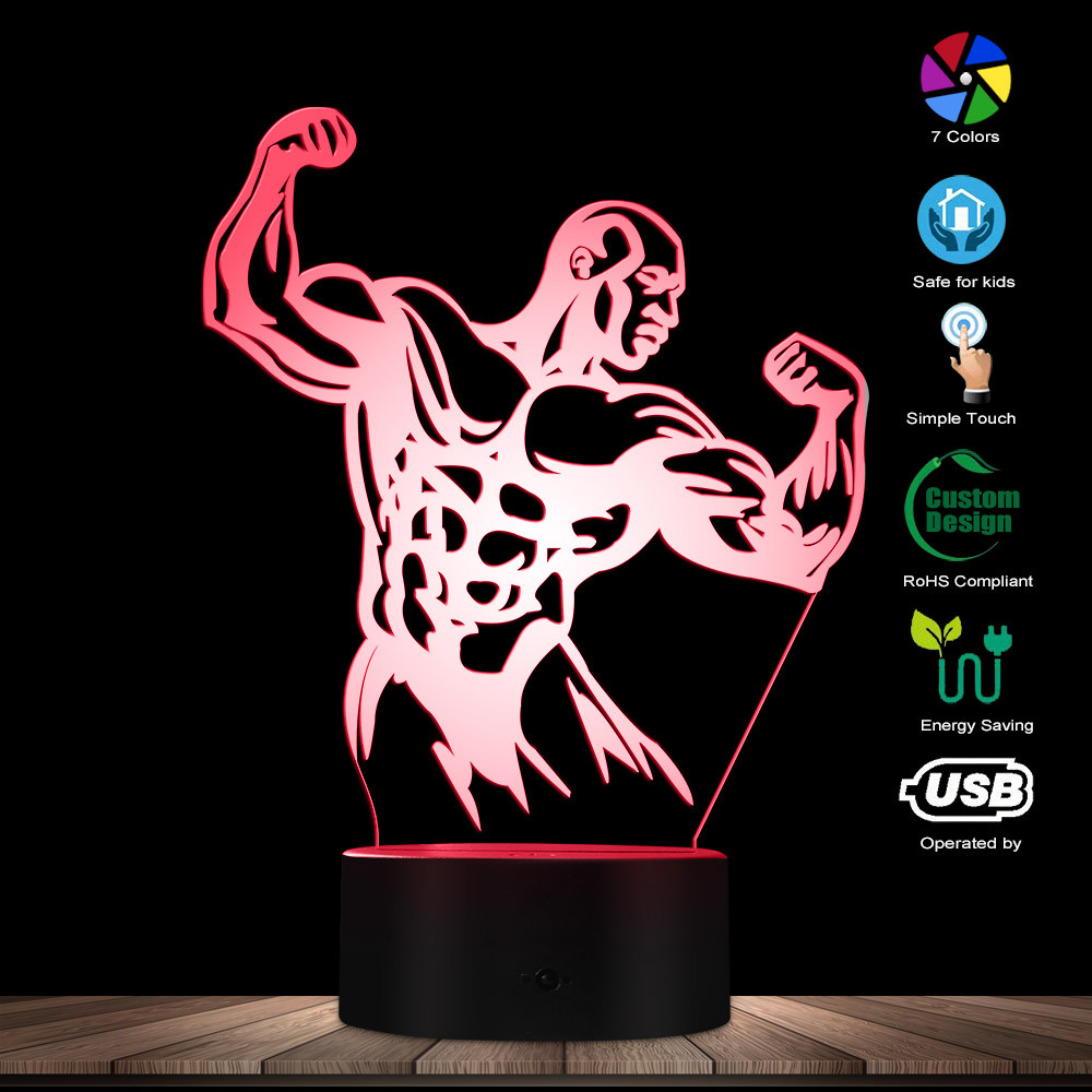 Bodybuilder Men Sexy Body 3D Optical LED Night Lamp Bodybuilding GYM Fintess Decorative Lighting Table Lamp Glowing LED Lamp