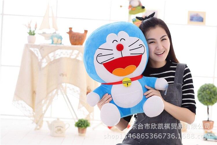 anime cartoon laughing happy Doraemon cat plush toy large 50cm soft throw pillow , birthday gift w5389 sitting height 65cm anime cartoon cute doraemon plush toys japanese anime doraemon cat plush toys children s gift