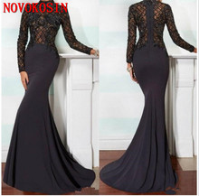 2019 Elegant Mermaid Mother of the Bride Dresses High Neck Long Sleeve Black Lace Applique Beads Crystals Evening Gown