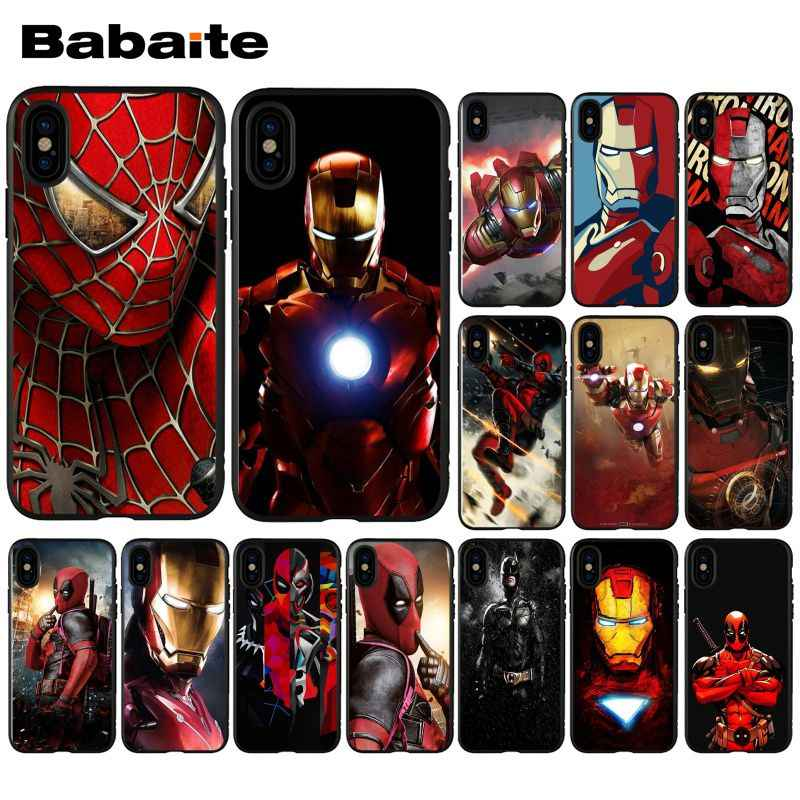 Babaite superman homem de ferro deadpool herói tpu macio silicone caso do telefone para o iphone 8 7 6 s plus 5 5S se xr x xs max coque escudo
