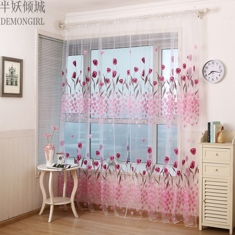 DEMONGIRL 1PC Elegant Door Window Curtains 3 Colors Tulle Sheer For Kitchen  Decoration Tulip Printed Sun