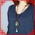 Оригинальный Дизайн урожай Чешский ожерелье, преувеличивать бирюзовый этнические украшения, ручной brided длинный свитер ожерелье зеленый