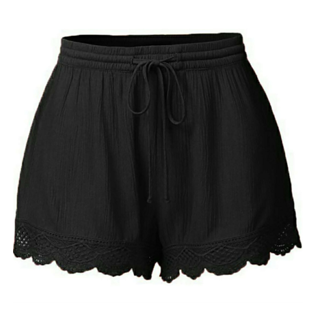 Women's Shorts Summer Plus Size High Waist Lace Up Shorts Female Solid Lace Patchwork Beach Sports Short Feminino Dropshipping C