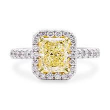 Lujo oro blanco plateado alfiletero princesa cut Topaz fantasía amarillo cz del anillo de diamante