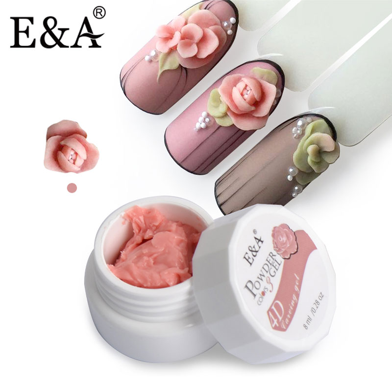 E&A 24 Colors Sculpture Nail Gel 3D Carved UV Gel Creative DIY Nail Art Decor Gel