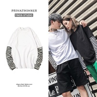 Privathinker New Oversized Striped Long Sleeve T Shirts Man Fake Two Patch T Shirt Male HipHop