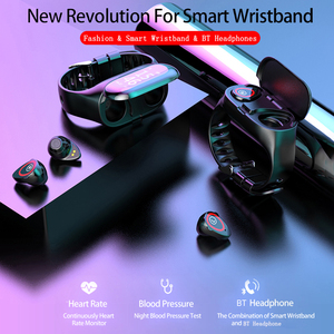 Image 5 - 2 in 1 חכם שעון גברים אלחוטי Bluetooth 5.0 אוזניות אוזניות כושר צמיד גשש צעדים קצב לב עמיד למים smartwatch