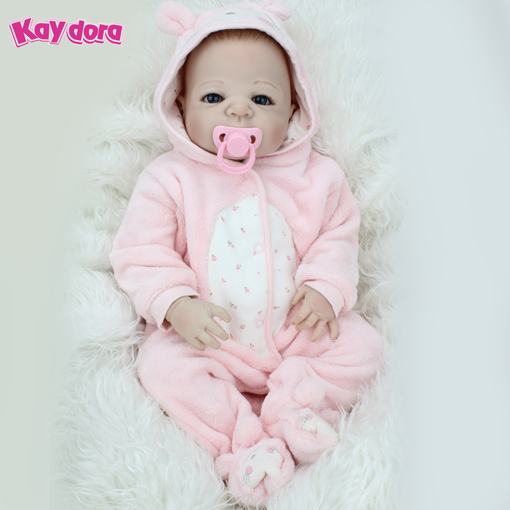 KAYDORA 22 inch Full Vinyl Reborn Baby Doll Realistic Newborn Dolls Lifelike Kids Reborn Babies Child Toys Birthday Gift 55cm 55cm doll reborn babies full soft silicon lifelike newborn baby dolls baby reborn simulation toys gift for children partner