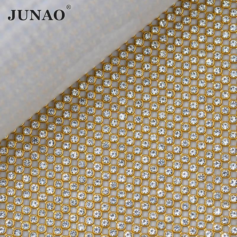 JUNAO 45x120cm Clear Hotfix Rhinestones Mesh Sheet Glass Crystal Trim Fabric Gold Aluminum Mesh Strass Applique