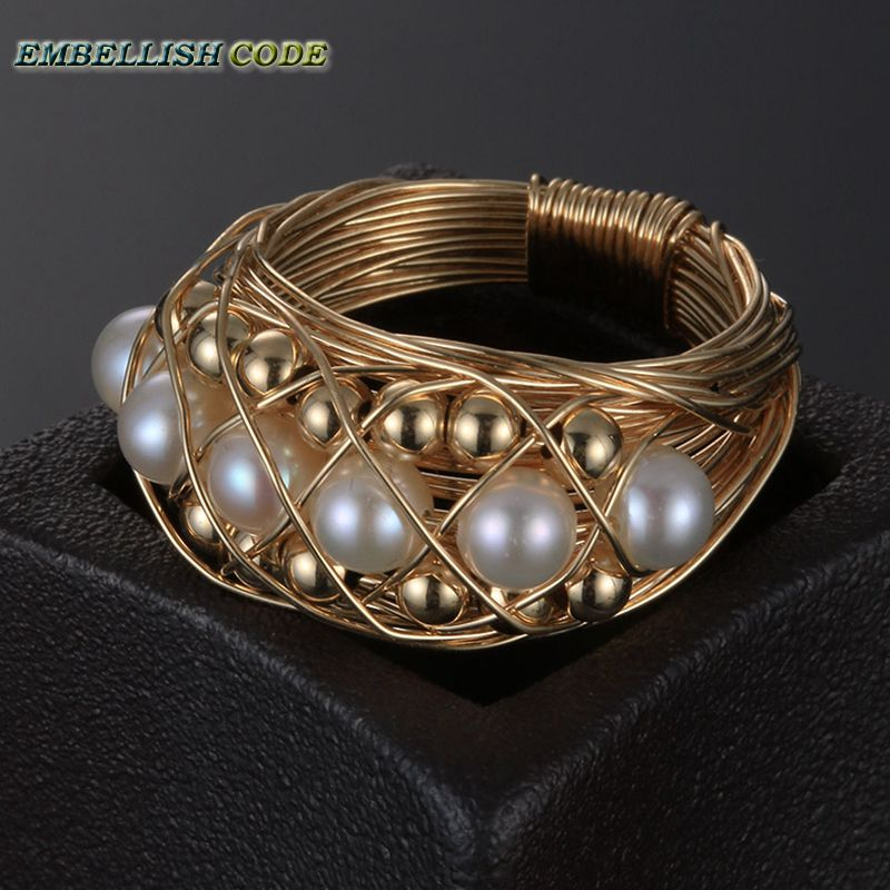 NEW Designer pieces ring gold with round like ball pearls hand make ring