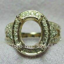 Овальный 10x8 мм Solid 14 К желтое золото природных алмазов Обручение кольцо Маунт Semi