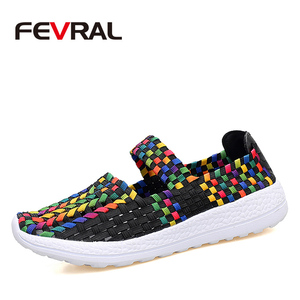 Image 1 - FEVRAL Brand Woman Casual Shoes Summer Breathable Handmade Woman Woven Shoes Fashion Comfortable LightWeight Wovening Size 35~41
