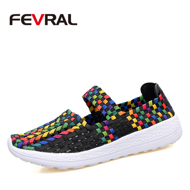 FEVRAL Brand Woman Casual Shoes Summer Breathable Handmade Woman Woven Shoes Fashion Comfortable LightWeight Wovening Size 35~41