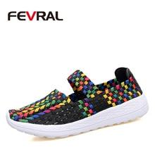 Fevral marca mulher sapatos casuais verão respirável artesanal mulher sapatos de tecido moda confortável leve wovening tamanho 35 35 41