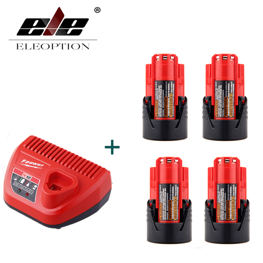 4PCS Power Tool Battery For Milwaukee M12 48-11-2401 2510-20 48-59-1812 12V 2000mAh Li-ion Rechargeable Battery + Charger replacement li ion battery charger power tools lithium ion battery charger for milwaukee m12 m18 electric screwdriver ac110 230v