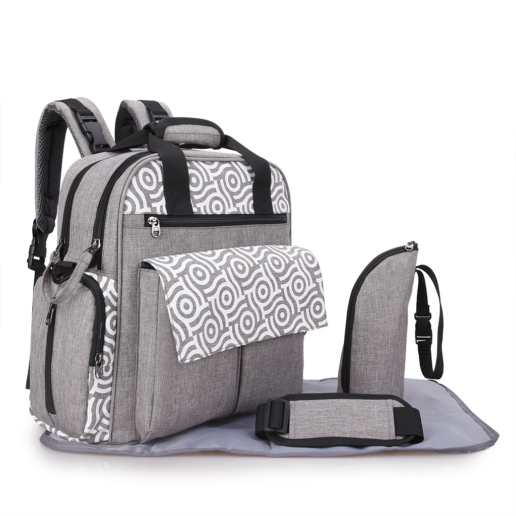Brand Multifunctional Large Capacity Black Grey Mommy Bag Set For Pregnant Women Travel Diaper Nappy Backpack