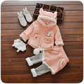 2016 New Autumn/Winter Baby Girls Clothing Sets Fleece Hooded Top+Thicken Pants /Leggings Children Velvet Warm Kids Clothes Set