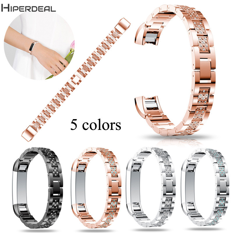 HIPERDEAL Replacement Luxury Alloy Crystal 200mm Bracelet Watch Band Strap For Fitbit Alta HR Smart Watch L 2017 OC9B