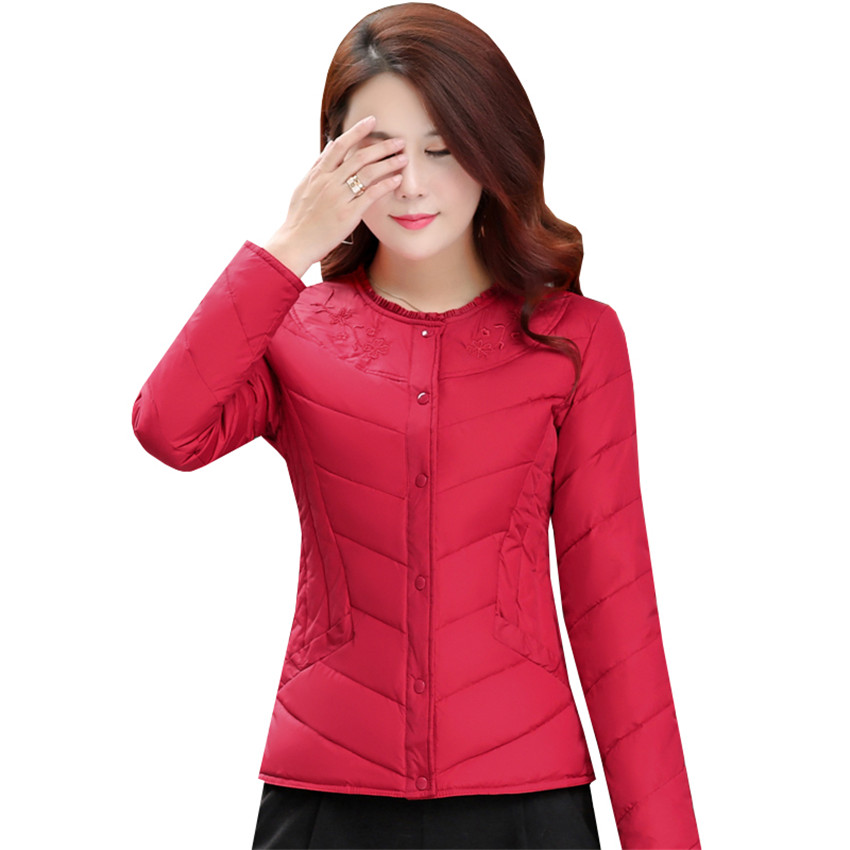 Autumn Winter Women Ultra Light   Down   Jacket New Embroidery Flowers White Duck   Down     Coat   Parka Ladies Thin Short   Coats   Tops AB633