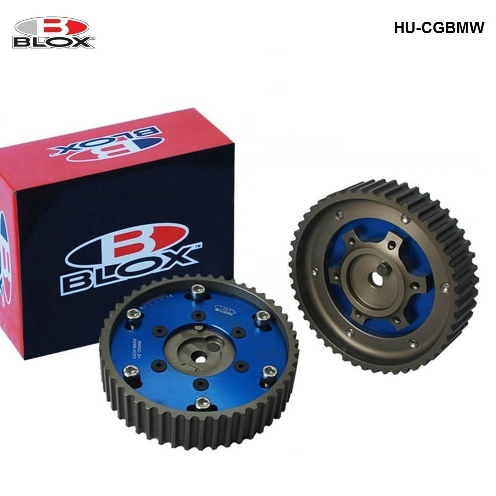 For <font><b>BMW</b></font> <font><b>M20</b></font> 3 Series engine Racing Aluminum Billet 2PC Pulley Sprocket Timing Cam Gear Blue Blox HU-CGBMW image