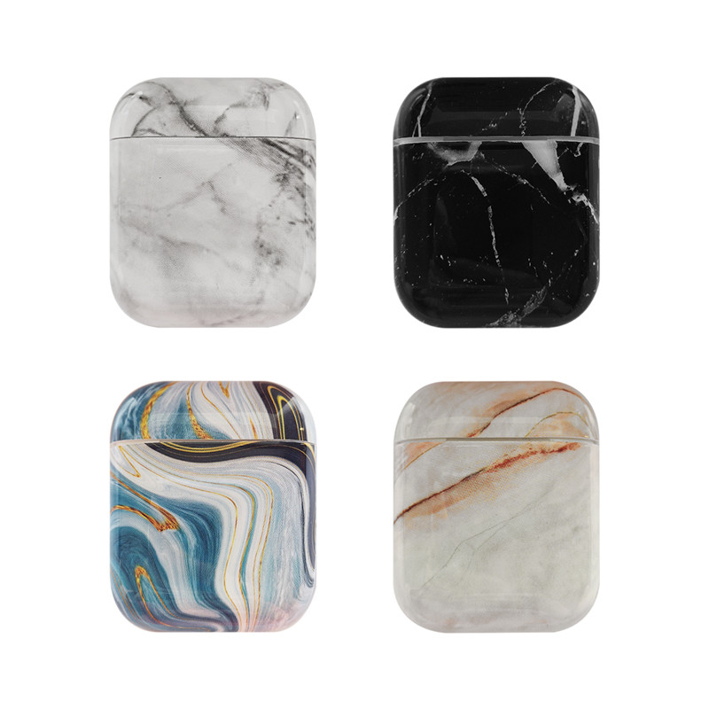 Fashion Cartoon Marble hard case for Apple Airpods case Headphone accessories protective cover for airpods Charging Box case bag