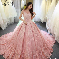 Pink Lace Appliques Wedding Ball Gowns Custom Made Pleated Bridal Formal Wedding Dress Middle East Saudi Brides Maxi Gown Long