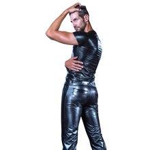Pantalones elásticos de charol Patchwork PU para hombre XXL de talla grande pantalones de lápiz brillante pantalones modernos de motociclista líquido pantalones de PVC Sexy Legging