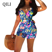 QILI Floral Print Women Rompers Casual With Belted Sleeveless Short Style Jumpsuit Rompers Womens Overall New belted cuff mixed print stepped hem blouse