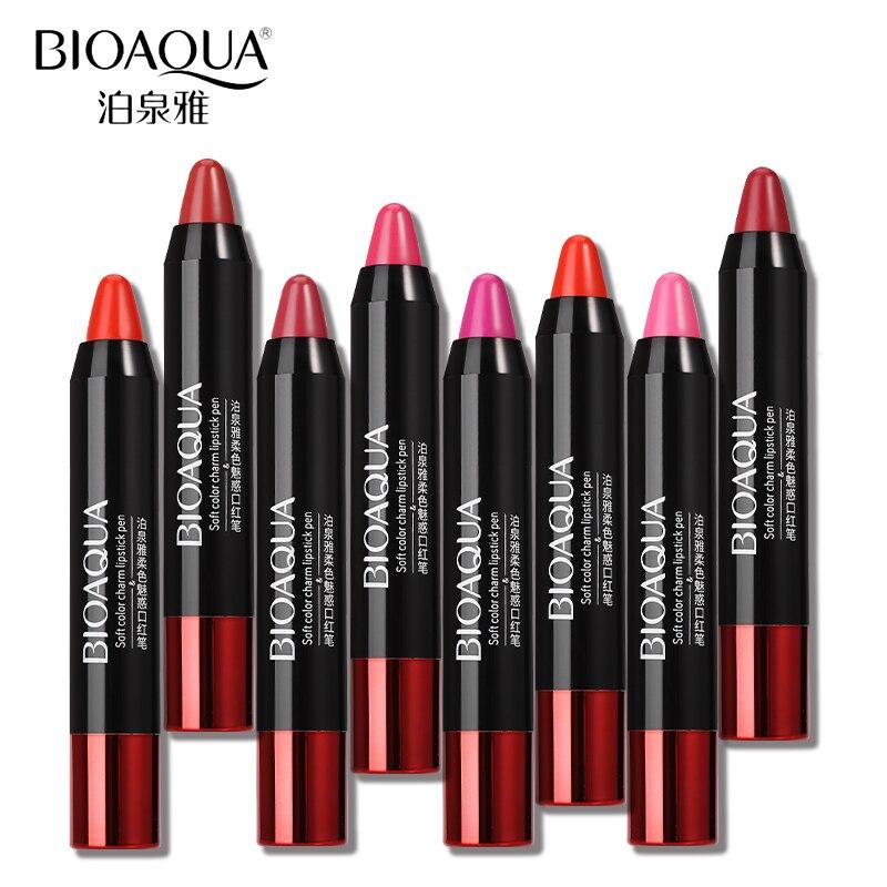 BIOAQUA Multicolor Long Lasting Nonstick Cup Matt Lip Stick Cosmetics Makeup Pigment Waterproof Moisturizing Lipstick Pencil