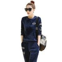2017 New Fashion Winter Sporting Garnitur Kobiety Bluzy + Spodnie Dwuczęściowy Zestaw Aksamitna Dres Sweatsuit Haft Kobiety Odzież
