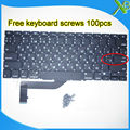 "Brand New For MacBook Pro Retina 15.4"" A1398 Small Enter RS Russian keyboard+100pcs keyboard screws 2013-2015 Years"