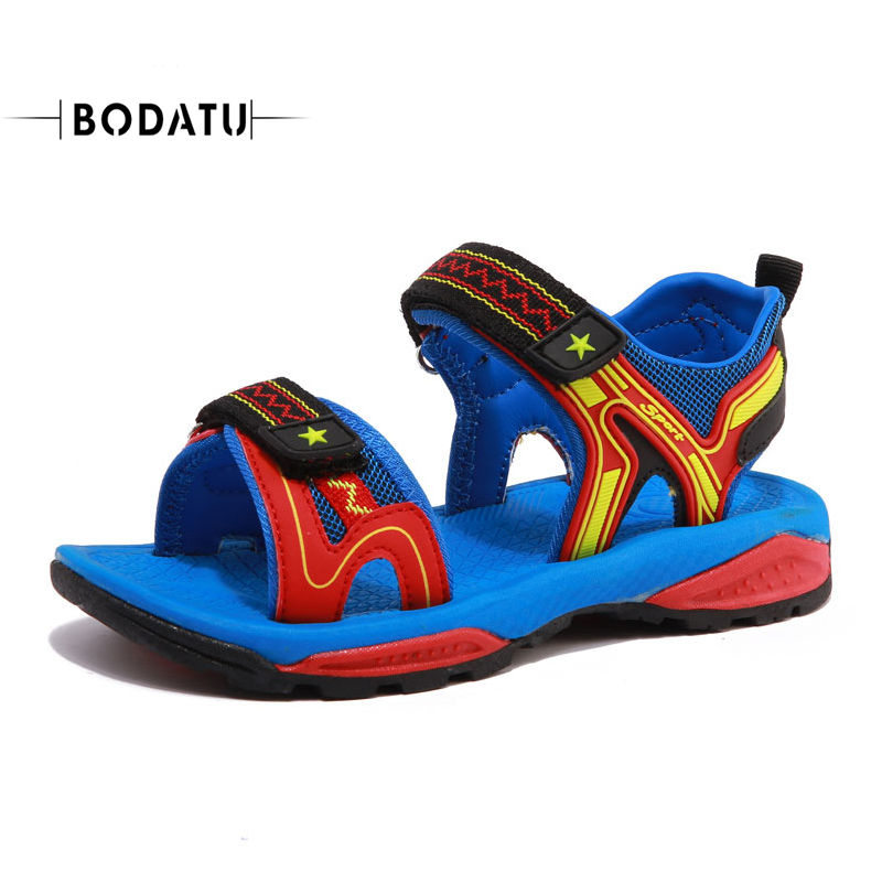 BODATU Super Kids Sandals PU leather Fashion Boys Summer Children Girls Kids Comfortable Flat Sandal DU1716