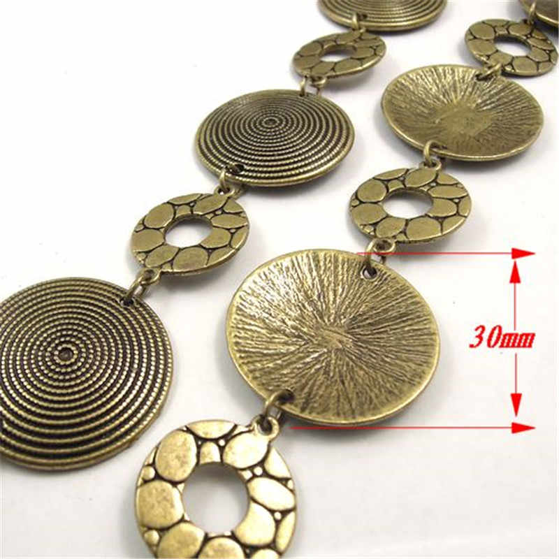2017 Top Women Vintage Bronze Chain Necklace Tone Retro Round Circle Bracelet Chains Charms 30*30*2mm Jewelry Findings 31627