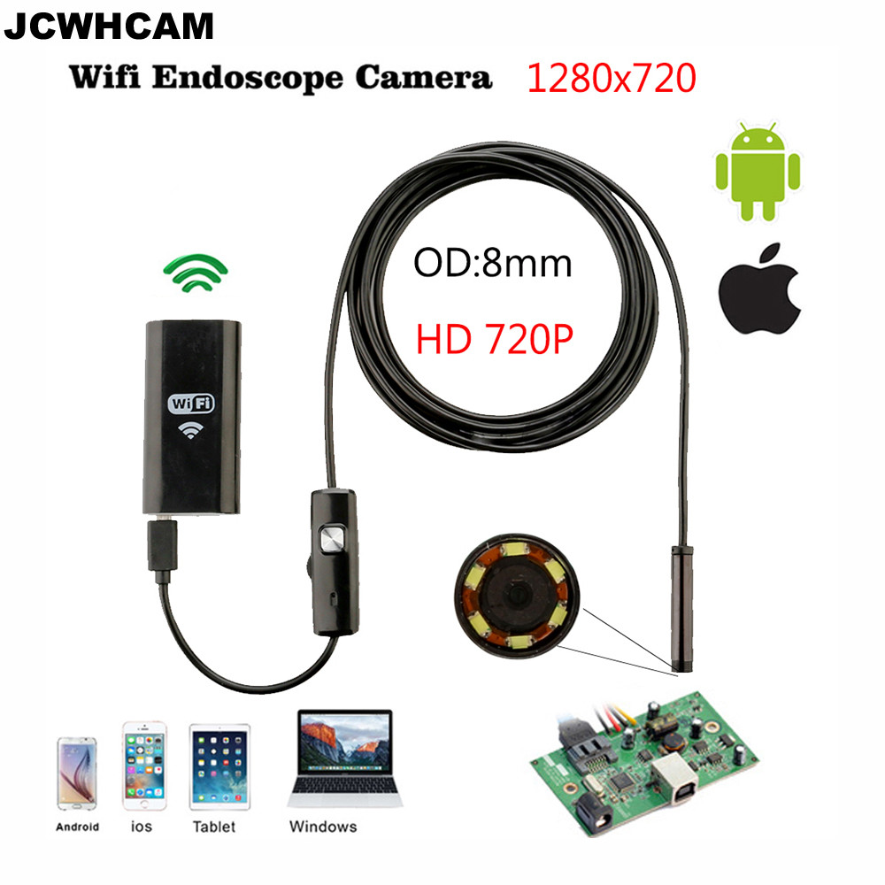 JCWHCAM 8mm Lens 6 LED HD 720P 1M WiFi Endoscope IP67 Waterproof Inspection Camera for Ios and Android Smartphone PC jcwhcam wireless wifi transmitter for 5 5mm 7mm 8mm usb endoscope inspection camera for above android 4 4 and ios 8 0