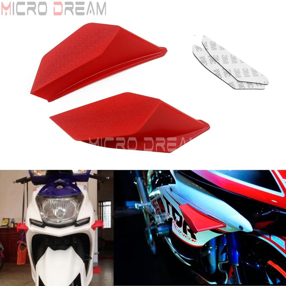 1 par de ala aerodin/ámica de motocicleta universal Black Ala de carenado kit de alas