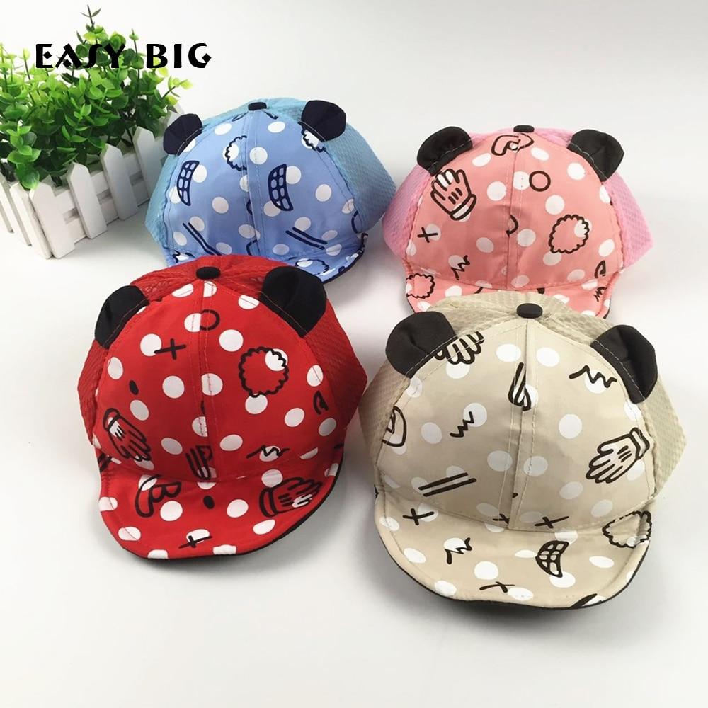 Lätt stor 4-12 månader sommar baby hattar bomull barn passade - Babykläder