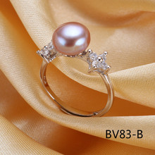 8-9mm Natural Freshwater Pearl Ring S925 Silver Inlaid pearl jewelry Freedom Adjust Size Simple Fund