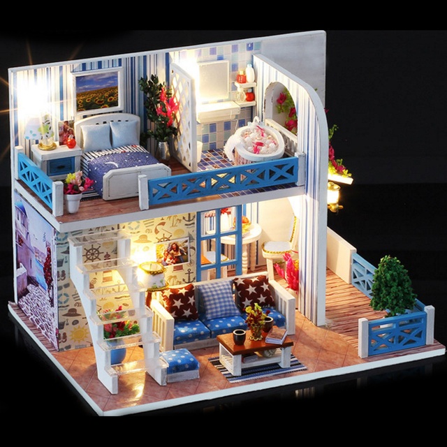 Diy Assembly Miniature Dollhouse Model Kits Handmade Craft Wooden