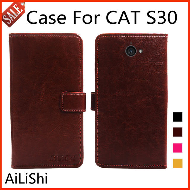 sports shoes d2e62 98888 US $4.47 10% OFF|AiLiShi Flip Leather Case For CAT S30 Case Luxury  Protective Cover Phone Bag Wallet 4 Colors With Card Slot !-in Flip Cases  from ...