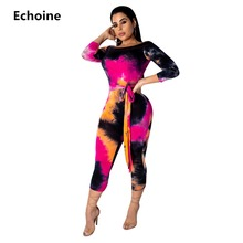 Tie Dye Print long Sleeve Jumpsuit Off-shoulder Slash Neck Bodycon Rompers Jumpsuit Skinny Overalls with Belt Sexy Club Outfit недорого