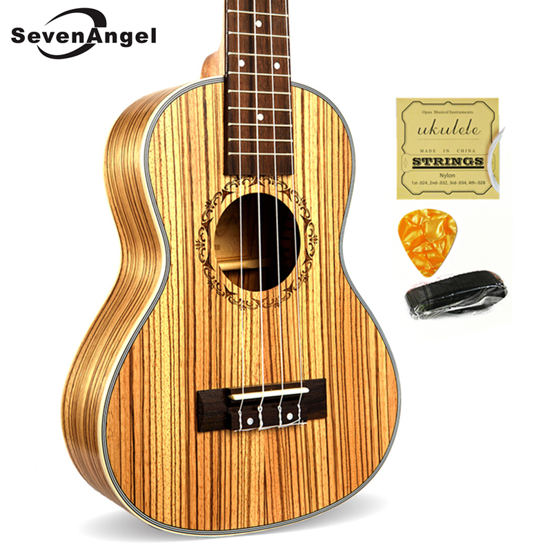 SevenAngel 23 Concert Ukulele 4 AQUILA Strings Hawaiian Mini Guitar Uku Acoustic Guitar Ukelele 12 Patterns guitarra send gifts