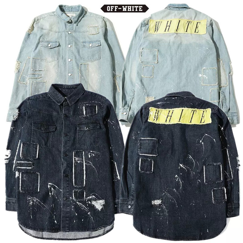 55f609893e1 OFF WHITE C O VIRGIL ABLOH urban clothing distressed jean denim shirts  patchwork jacket Pyrex Euramerican Fashion Outerwear -in Jackets from Men s  Clothing ...
