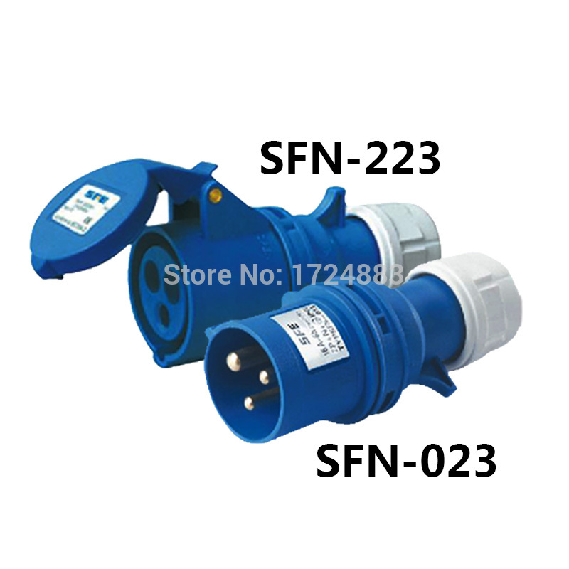 32A 3 Pole Connector Industrial Male&female Plugs SFN-023/SFN-223 Waterproof IP44 220-240V~2P+E